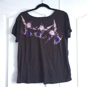 Topshop Hummingbird Oversize Graphic TShirt Size 6